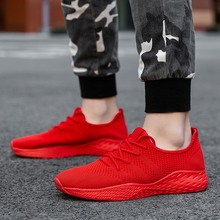 цены Breathable Men Sneakers Male Shoes Adult Red Black Gray High Quality Comfortable Non-slip Soft Mesh Men Shoes Summer Size 38-47