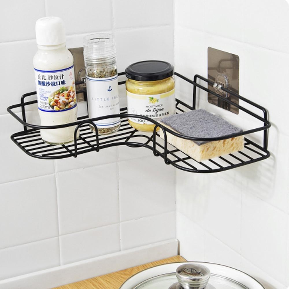 Iron Bathroom Shower Shampoo Shelf Storage Rack Organizer Basket Free Punching
