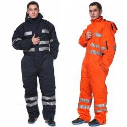 Heady Duty Navy Blu di Inverno Tuta Isolati per Gli Uomini Abiti da Lavoro Freddo Bib Tute E Salopette con Nastri Riflettenti