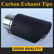 Universal Car Rear Round Exhaust Pipe Tail Muffler Tip Stainless Steel Carbon Fiber Automobile Muffler Tip Replacement Car Acce universal car exhaust muffler tip high quality stainless steel pipe chrome trim modified car tail pipe exhaust system new