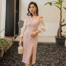 Элегантное винтажное платье yigelila розовое с длинным рукавом