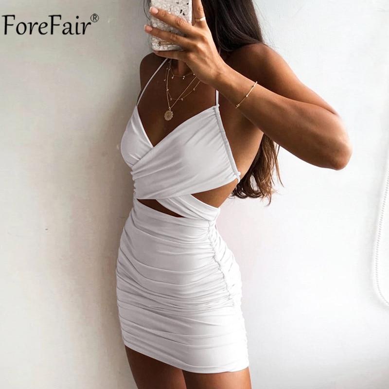 Forefair V Neck Cross Sexy Dress Party Black Summer Club Spaghetti Strap Backless Bandage Sundress Bodycon Dresses Mini