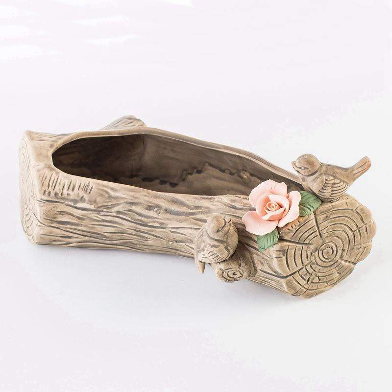 Personnalité arbre souche oiseau plante pot pastorale rétro décoration en céramique pot de fleur