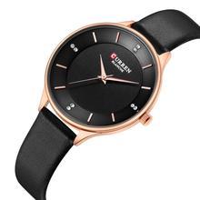 цена на CURREN Women's Watch Top Brand 2019 Casual Wrist Watches Black Leather Strap Slim Quartz Watch Hardlex Clock Water Resistant