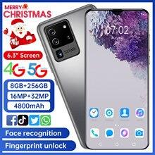 Novo smartphone 32mp 8g 256g s25u impressão digital desbloqueia o cartão duplo standby 6.3 polegadas tela cheia ultraben telefone 4g rede