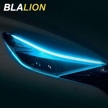 Elastyczny samochód Led listwa oświetleniowa podwójny kolor 30/45/60cm DRL reflektor samochodowy LED powierzchnia taśmy świetlówka światła sygnalizacyjne samochodu dziennego