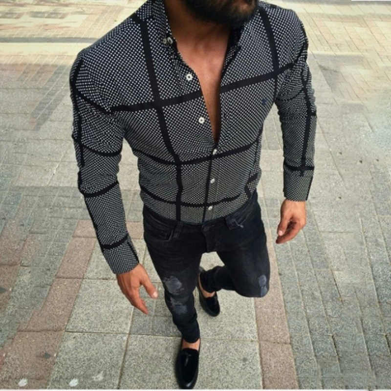 Men Slim Black Grid Shirts Autumn Long Sleeve Casual Fitness Shirts Tops Homme Men Shirt Formal Blouses Jogging Party Men