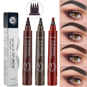 3D Eyebrow Pen Waterproof Fork Tip Eyebrow Tattoo Pencil Long Lasting Professional Fine Sketch Liquid Eye Brow Pen dropshopping недорого
