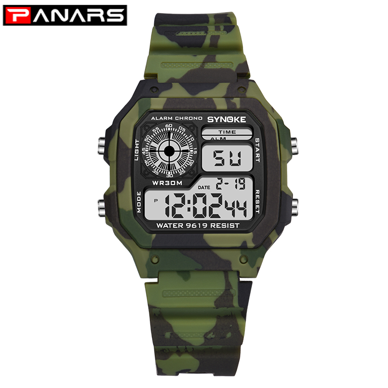 PANARS Sports Military Children's Watches Student Kids Digital Watch Camouflage Green Fashion Colorful Led Alarm Clock For Boys