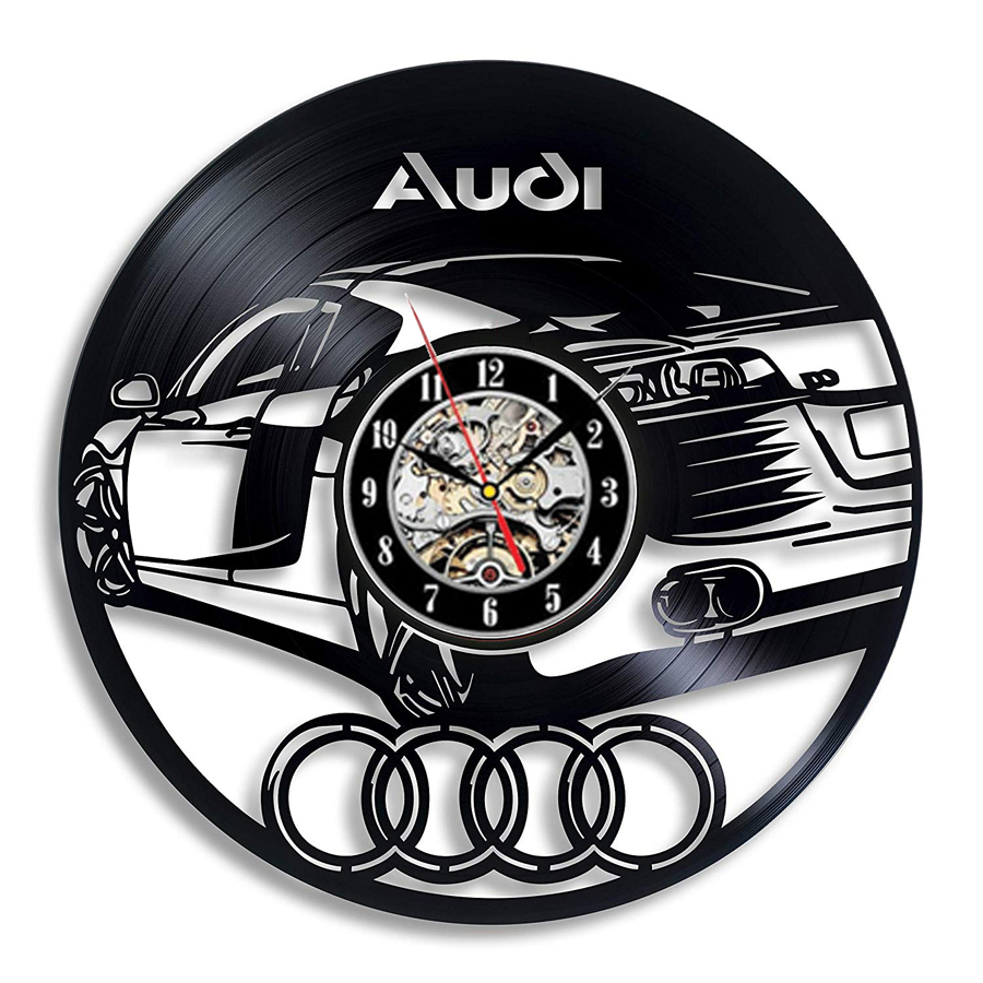 Audi Car Vinyl Record Wall Clock Modern Design 3D Decoration For Car Beauty Shop Vintage Vinyl Clock Wall Watch Home Decor