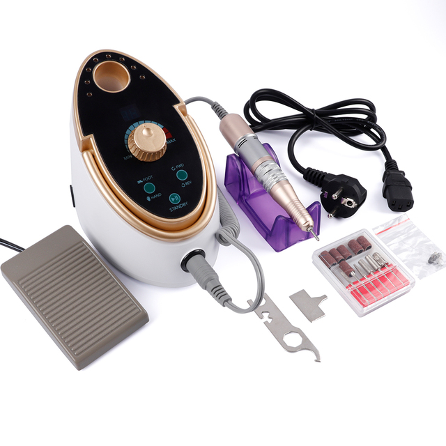 Electric Nail File Drill 35000RPM 65W Manicure Pedicure Machine Strong Nail Art Gel Polishing Grinding Device Nail Drill Bits