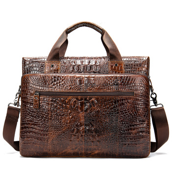 Genuine Leather Laptop Bag Cross-section Crocodile Pattern Briefcase Computer Business Gentleman Casual Man Bag Stylish
