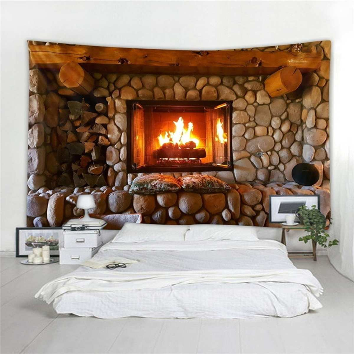 Fireplace Tapestry Tablecloth Bedspread Art-Decoration Rock-Stone Wall-Hanging Beach-Towel title=
