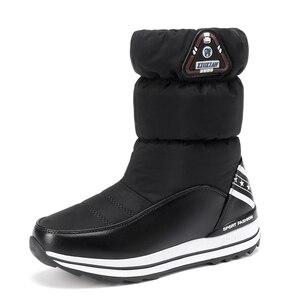 Image 2 - Cales bottes de neige femmes hiver bas longues chaussures plates chaudes femme A324 mode dame noir blanc rouge bout rond plate forme bottines