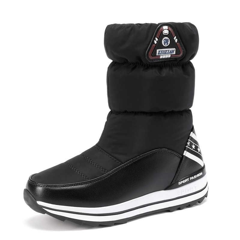 Takozlar Kar Botları Kadın Kış Aşağı Uzun Sıcak düz ayakkabı Kadın A324 Moda Bayan Siyah Beyaz Kırmızı Yuvarlak Ayak Platformu yarım çizmeler
