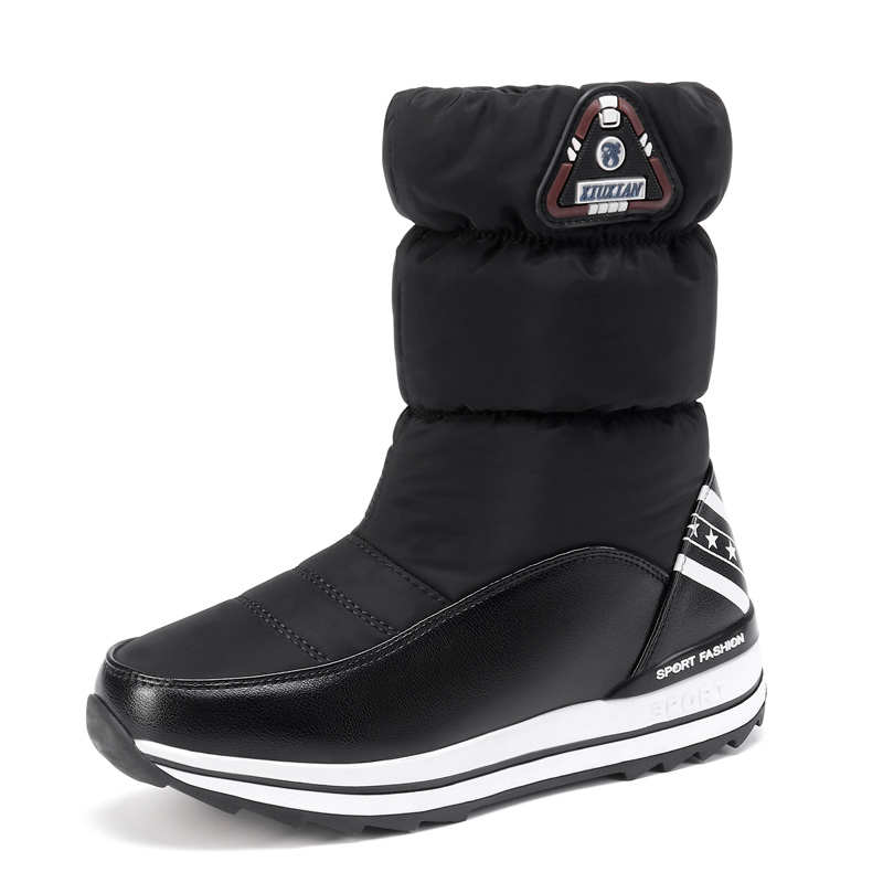 Wedges Snow Boots Women Winter Down Long Warm Flat Shoes Woman A324 Fashion Lady Black White Red Round Toe Platform Ankle Boots