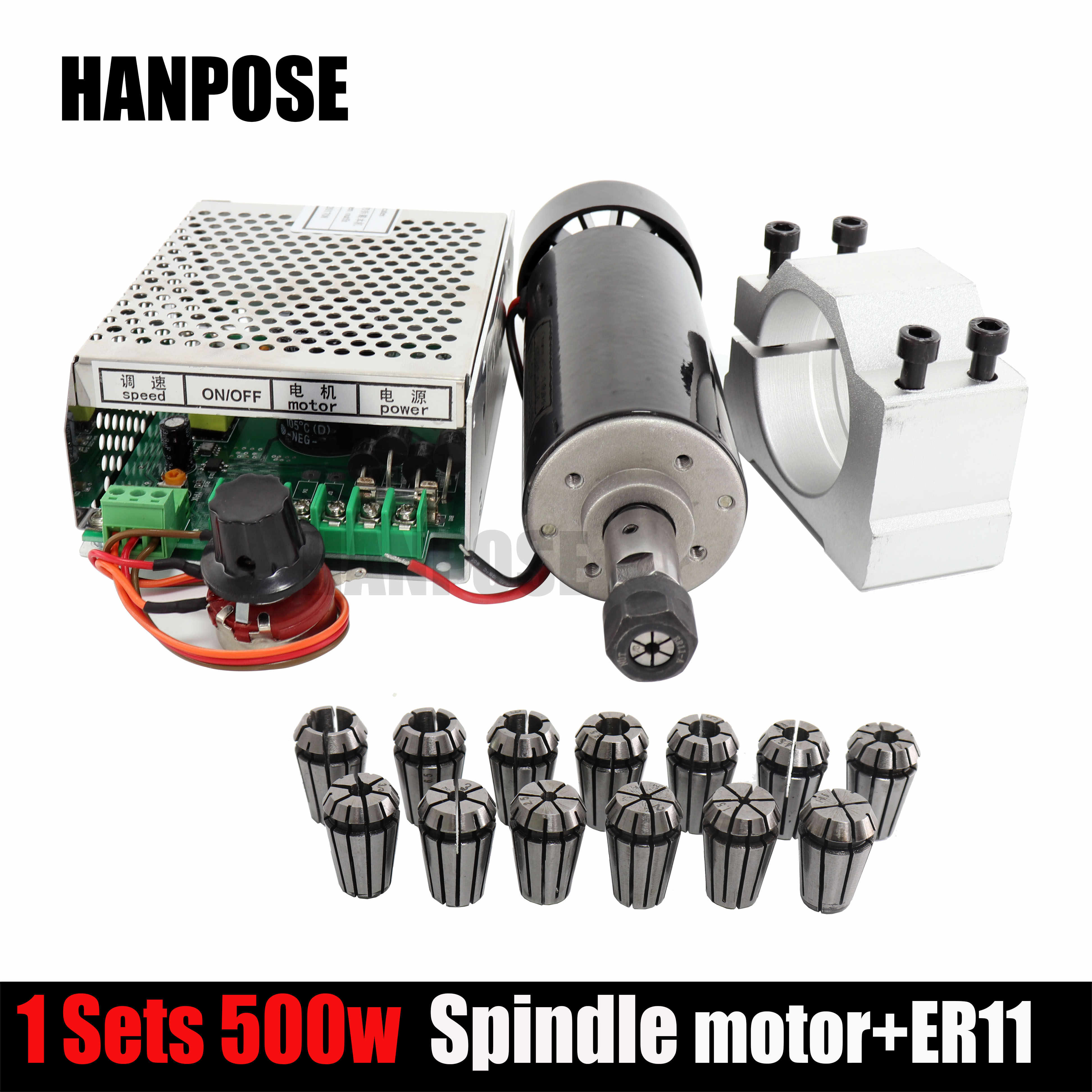 0.5kw clamps Air cooled Air cooled spindle ER11 chuck CNC 500W Spindle Motor + Power Supply speed governor