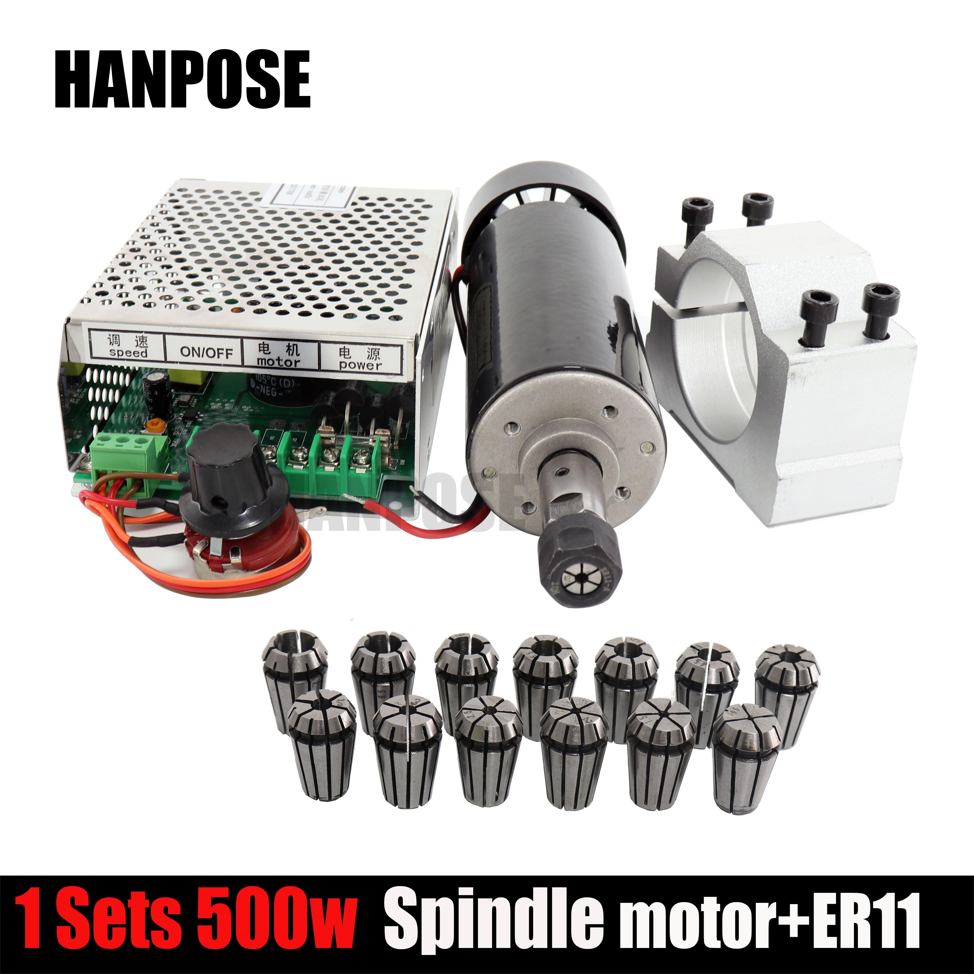 0,5 кВт хомуты с воздушным охлаждением шпиндель ER11 патрон CNC 500 Вт мотор шпинделя + регулятор скорости электропитания