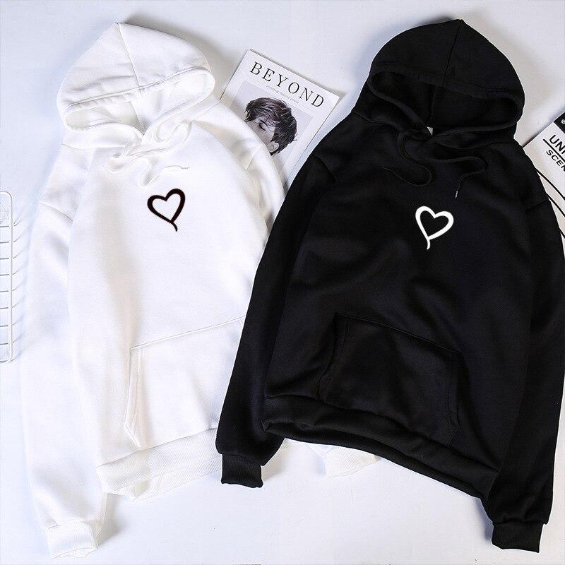 Heart Hoodies Sweatshirts 2019 Women Casual Kawaii Harajuku New Sweat Punk For Girls Clothing European Top Korean Sudadera Mujer