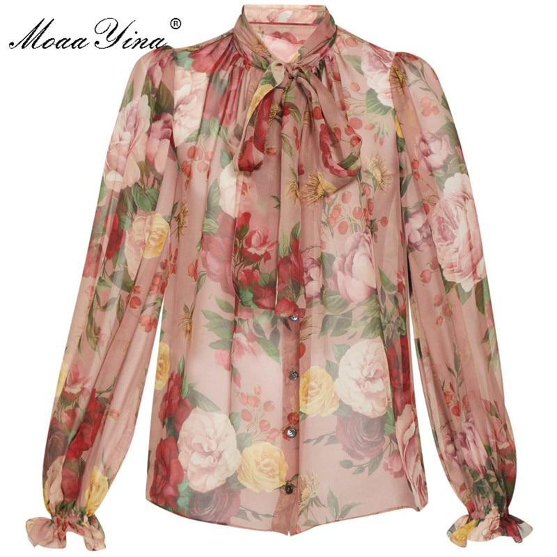 MoaaYina High Quality Fashion Silk Blouse Summer Women Bow Collar Floral-Print Elegant Silk Shir