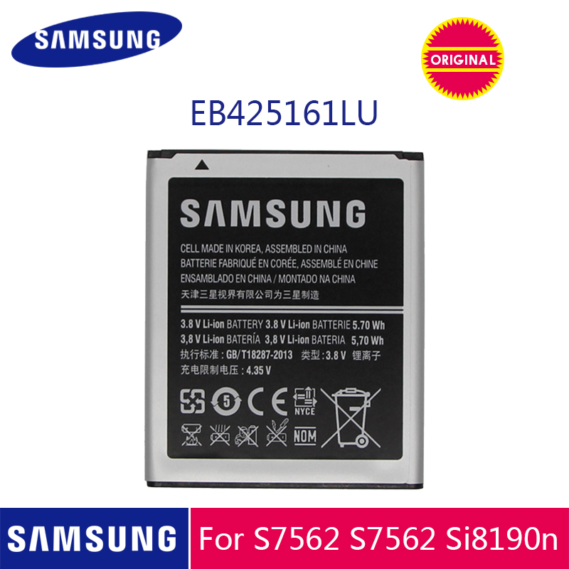 SAMSUNG Original <font><b>Battery</b></font> EB425161LU 1500mAh For Galaxy S Duos S7562 S7566 S7568 i8160 S7582 S7560 S7580 <font><b>i8190</b></font> i739 i669 J1 Mini image