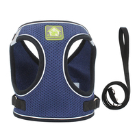 Navy Blue-Reflective Puppy Cat Harness Vest