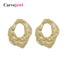 Carvejewl stud earring hammered irregular big round earrings jewelry for women girl gift 2019 spring style hot sale fashion