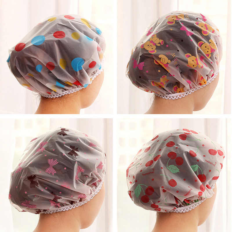 Shower Caps Waterproof Cartoon Shower Cap Adult Shower Cap Female Models Bathing Cap