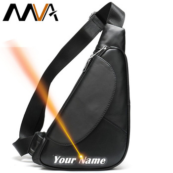 MVA Engraved Male Shoulder Bags Vintage Cross Body Bag Men Sling Fashion Genuine Leather Chest Waist Pack Bag Men Messenger  696 men bag genuine leather chest bag famous brand chest shoulder messenger bags casual vintage sling back pack of the