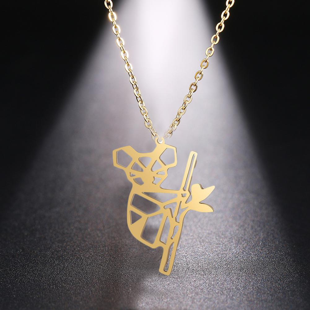 <font><b>Koala</b></font> <font><b>Bear</b></font> Hollow Pendant Necklaces Gold Sliver Animal Shape Animal Necklace Women Lady Fashion <font><b>Jewelry</b></font> Student Friendship Gifts image