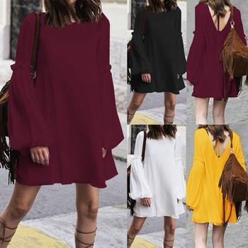 Women's Dress ZANZEA Bohemian Loose Long Shirt Dresses Fashion Ladies Sexy Lace Up Backless Vestidos Short Dresses Plus Size 5XL 5