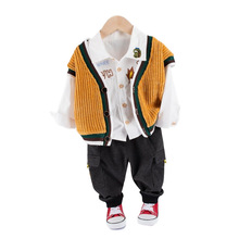 New Spring Autumn Baby Clothes Suit Children Boys Letter Shirt Vest Pants 3Pcs/sets Toddler Casual Clothing Kids Outing Costume 2017 boys clothing sets autumn spring shirt vest pants children wedding clothes kids gentleman leisure handsome blouse suit