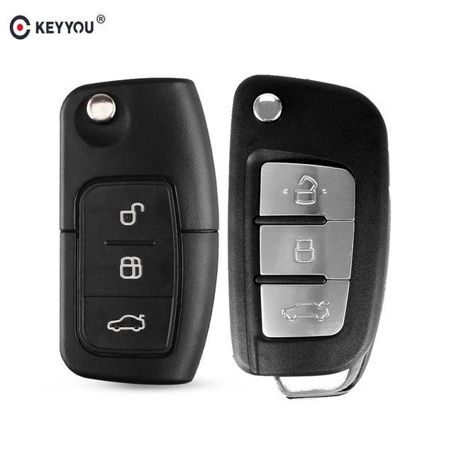 KEYYOU funda con mando a distancia plegable para Ford Fiesta Focus 2 Ecosport, Kuga, escape C Max Ka 3 botones Flip Key Fob HU101/FO21