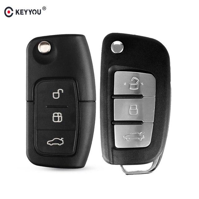 Раскладной чехол KEYYOU для ключей с дистанционным управлением для Ford Fiesta Focus 2 Ecosport Kuga Escape C Max Ka 3 кнопки флип-брелок HU101/FO21