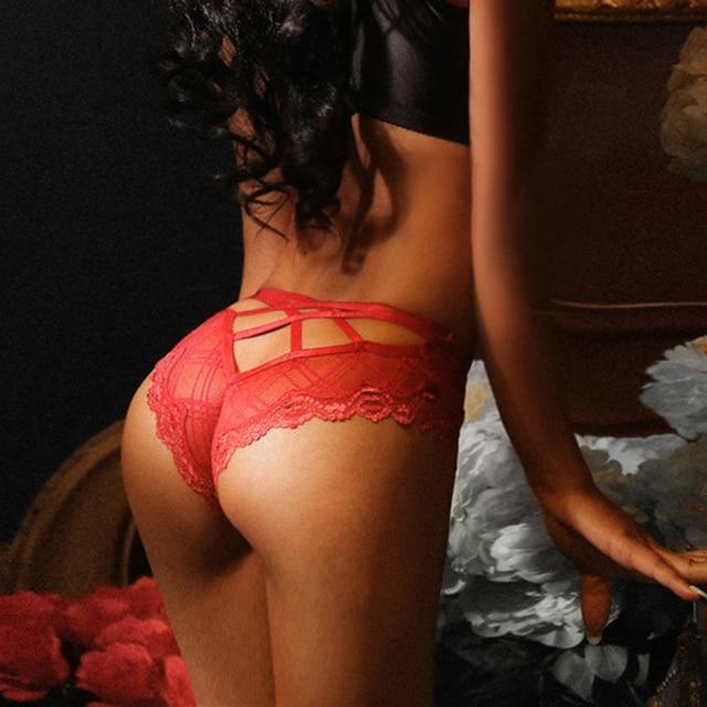 TERMEZY Sexy Bandage Panties Women Lace Low-waist Hollow Out Briefs Female Underwear Ladies Cross Strap Lace Lingerie G String 4
