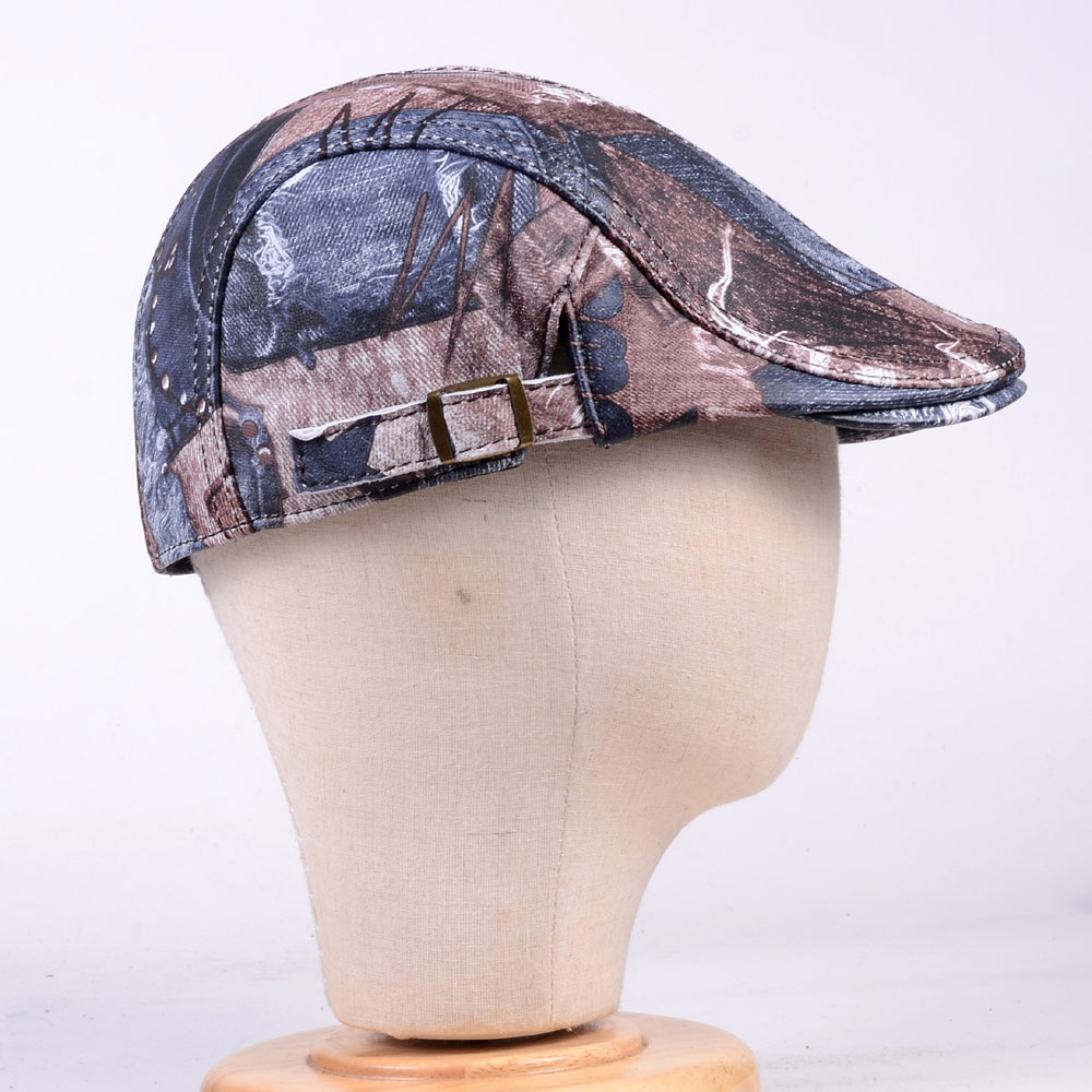 Men 39 s Women 39 s Unisex Real Leather Denim Pattern Military Peaked cap Army Beret Newsboy Hats caps in Men 39 s Visors from Apparel Accessories