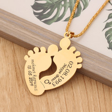HIYONG Personalized Rose Gold Silver Custom Foot Nameplate Necklace Baby Designed For Children Anniversary Gifts