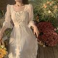 Кружевное милое и элегантное платье, женское облегающее длинное корейское вечернее платье, женское милое летнее платье с коротким рукавом ...