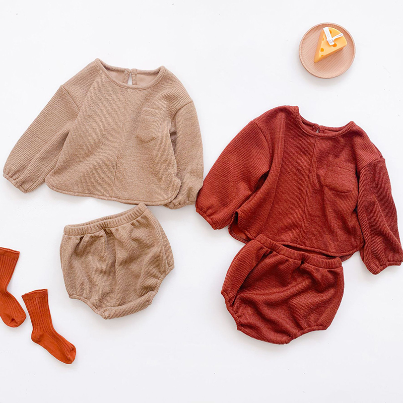 2020 New Autumn Korean Style Baby Girls Boys Clothing Sets Knitted Long Sleeves Tops+PP Shorts Toddler Baby Boys Girls Clothes 1