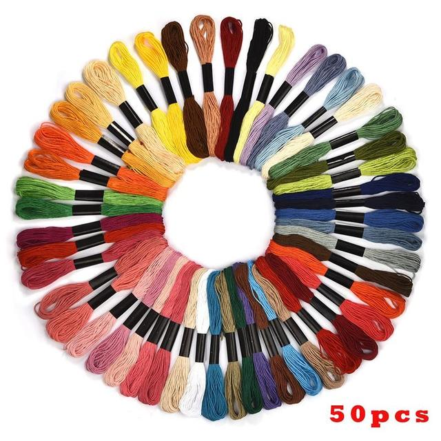 100 Colors Cross Stitch Threads Cotton Sewing Skeins Embroidery Thread Floss Skein Kit DIY Sewing Tools Craft Accessories