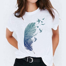 T-shirts Top for Women Watercolor Feather Bird Cartoon 90s Casual Print Lady Womens Graphic T Shirt Ladies Female Tee Tops