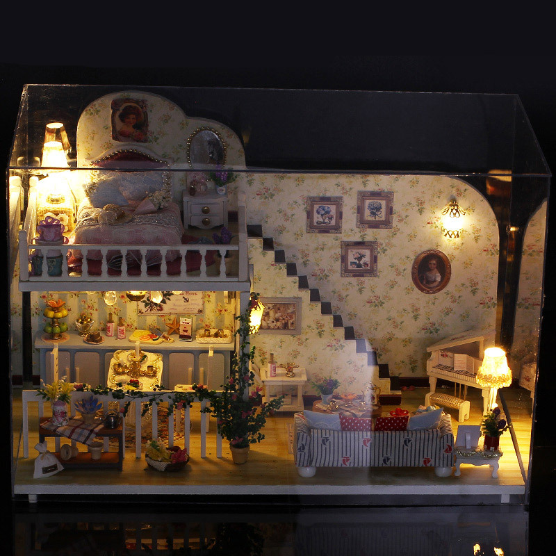 Interest Yi Ya DIY Hut Amsterdam Village Villa Model Toy Handmade Wooden Educational Doll House