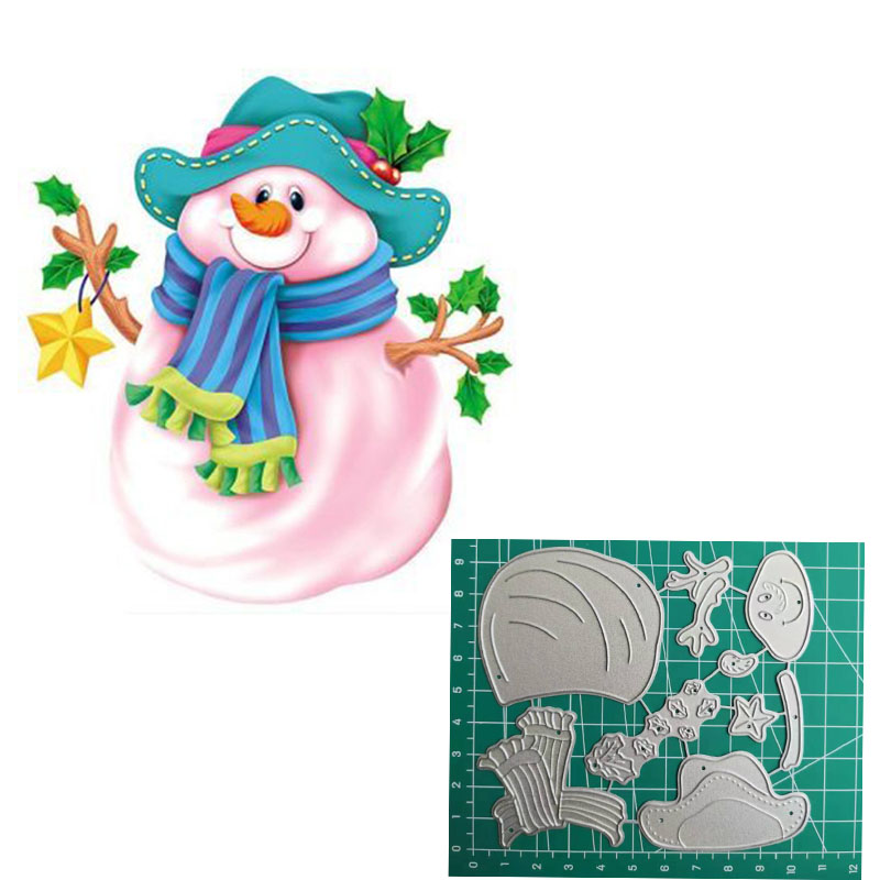 Snowman with trees die cuts for cards or scrapbook 6 pieces