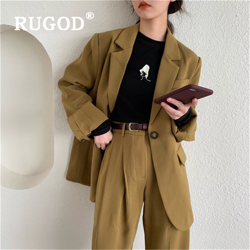 RUGOD 2019 New Women Loose Pants Suits Korean Temperament Chic Lazy Cozy Office Lady Wearing Notched Collar Coat & Long Pants