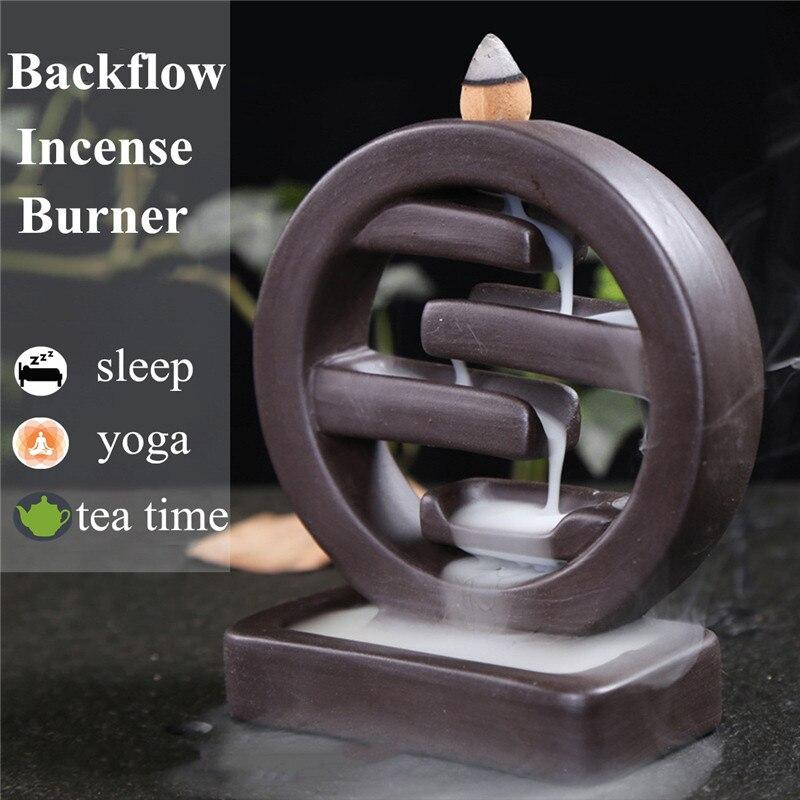 Round Ceramic Smoke Backflow Incense Burner Censer Incense Holder Home Decor Living Room Ornament +20 Cones Furniture Decoration