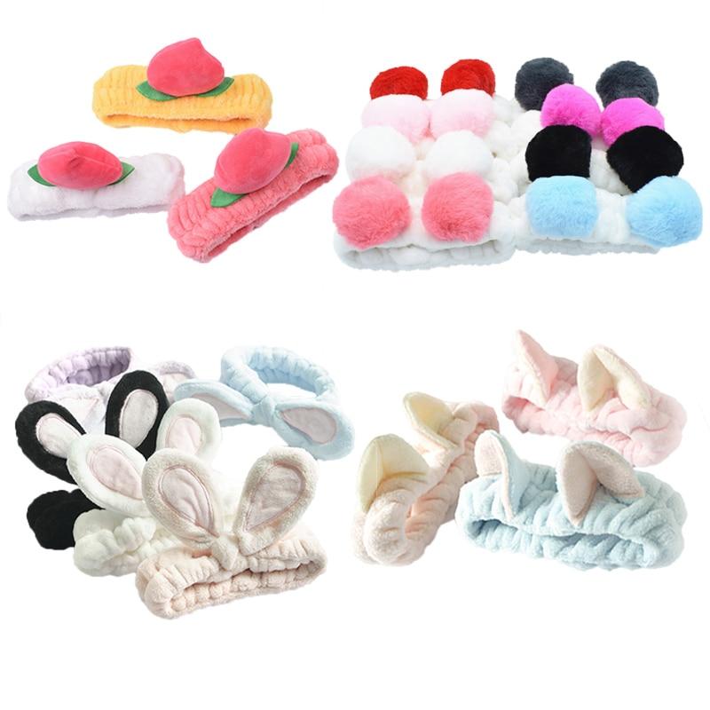 Headband Bangs Hair Accesorion Sweet Cute Cat Ears Hair Band Sports Makeup Face Towel(China)