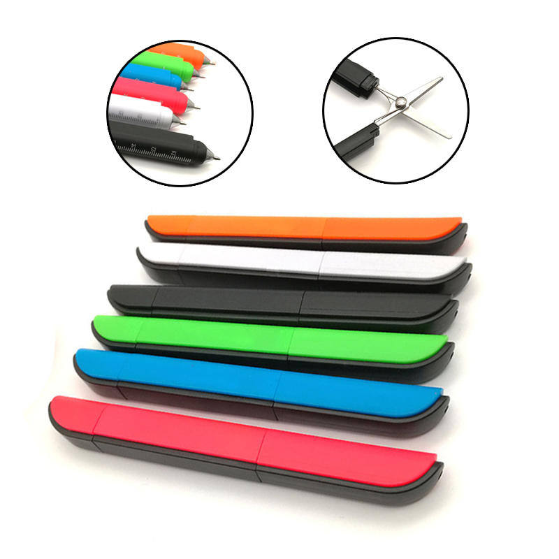 1pcs Multifunctional Tools. Folding Scissors, Ball Pens, Knives, Rulers, Multi-functional And Portable. Adult QH-1036