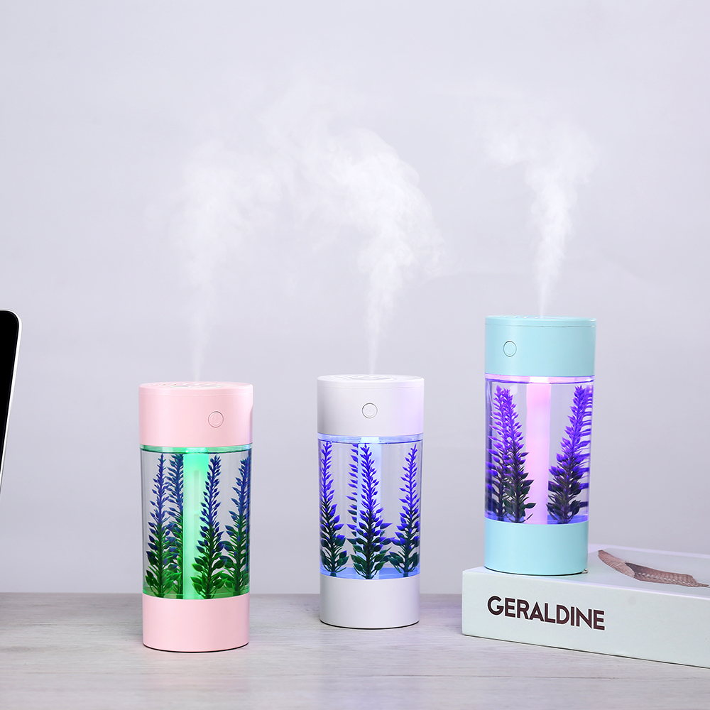 360ml Air Humidifier Lavender Landscape Usb Mini Car Humidifier Portable Aromatic Oil Diffuser 7Color Change Lamp USB humidifier|Humidifiers| |  - title=