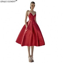 Red Spaghetti Strap Homecoming Dresses 2019 Satin A Line Special Occasion Prom For Girls
