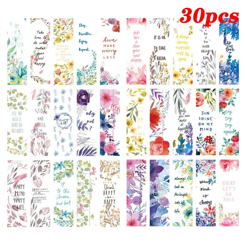 30pcs/set Beautiful Flowers Bookmarks Book Separation Bookmarks Small Paper Literary Fresh Supplies Bookmark Office Page Sc N7F8